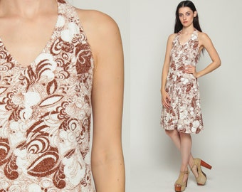 Psychedelic Dress 70s Halter Neck Midi Boho Hippie Floral Print TERRY CLOTH Open Back 1970s Sun Shift Brown White Sundress Extra Small xs