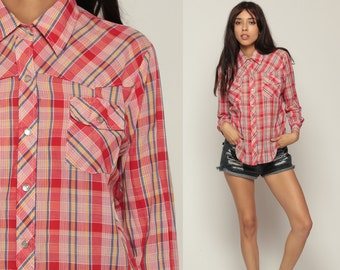Pearl Snap Shirt 70s Western Plaid Top 1970s Red Cotton Vintage Hipster Checkered Button Up Blue Yellow Men Yoke Medium