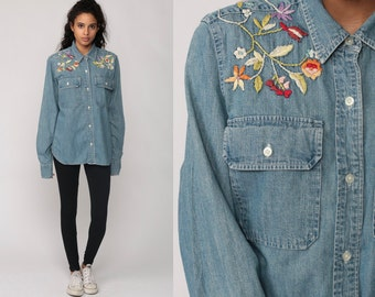 Floral Denim Shirt 90s Grunge EMBROIDERED Blouse Ralph Lauren Button Down 80s JEAN Shirt Blue Top Vintage Long Sleeve Flower Print Medium