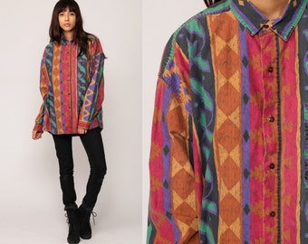 Tribal Shirt Button Up Blouse Aztec SOUTHWESTERN 90s Southwest Print Stripe 1990s Vintage Boho Hippie Long Sleeve Red Brown Grunge Large XL