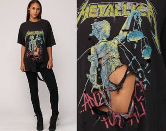 METALLICA Shirt 80s Band Tshirt DESTROYED Ripped Vintage Metal Band Tee Concert Tshirt Tour T Shirt Black 1980s Vintage Rock Large