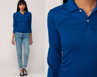 Long Sleeve Shirt 70s Shirt POLO Half Button Up 80s Plain Shirt Vintage Hipster Royal Blue Collared Extra Small xs