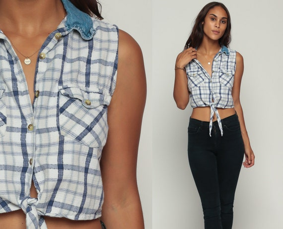 Cropped blouse 90s plaid shirt crop top denim collar grunge for Cropped white collared shirt