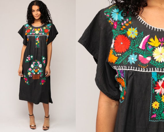 Black Mexican Dress Midi Embroidered Boho Cotton Tunic Hippie Floral Ethnic Bohemian Vintage Rainbow Embroidery Traditional Small Medium
