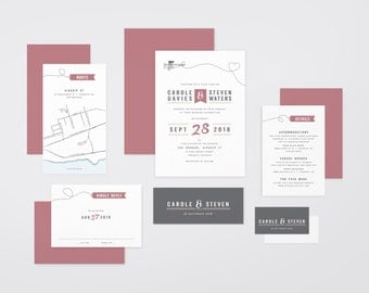 The 'Poppy' Vintage Air Travel Wedding Invitation Suite (Printable PDFs)