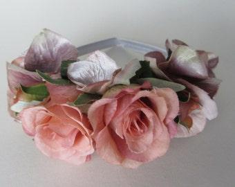 Vintage pink rose floral tiara, white satin band, silk flower hair, bridal flower headpiece, flower girl
