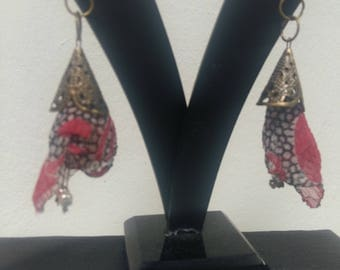 Textile Art Flower Earrings Handmade One of a Kind by Sujati Designs