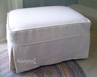 LINEN Ottoman Slipcover, Tailored Skirts, Ottoman Cover