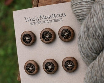 6 Wood Tree Buttons- Oregon Myrtlewood- Wooden Buttons- Eco Craft Supplies, Eco Knitting Supplies, Eco Sewing Supplies