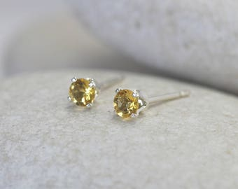 Tiny Yellow Sapphire Earrings with Sterling Silver Posts, second hole stud earrings