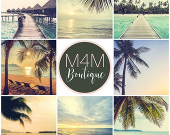 INSTANT DOWNLOAD | Tropics Social Media Images - Set of 8 | Twitter, Facebook, Instagram | graphics, marketing, invites, Beach