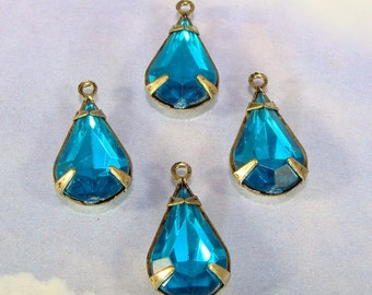 8 Turquoise Teardrop Charms Faceted Set Stones Crystal Rhinestone Resin Aqua Drops 13mm x 8mm BRONZE Pronged Setting Jewelry Supplies Bulk
