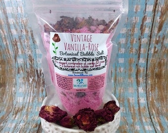 VINTAGE VANILLA ROSE Botanical BuBBle Salt, Essential Oils, Mineral Rich Salt, Dried Roses, Vanilla and Bubbles