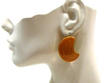 Vintage Yellow Earrings Vintage Pierced Earrings Vintage Metal Earrings Vintage Stud Earrings