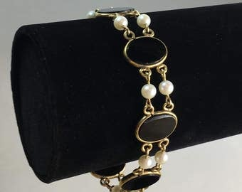 1950's Uncas CC Onyx and Cultured Pearl 12K Gold Filled Link Bracelet