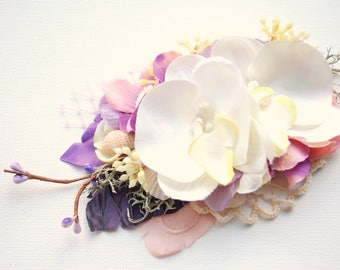 Beach Weddings Orchids Bridal Comb Sash, Nautical Hawaiian Weddings Seashells Accessories, White Bridal Orchids, Purple White Beach Comb