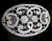 Vintage Lace Doily Bobbin Lace Brugge Belgium Hand Worked Intricate Oval