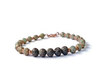 Aromatherapy Bracelet, Czech Glass, Antique Copper, and Lava Stones