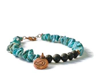 Essential Oil Diffuser Bracelet, Lava Stones,Turquoise Stone Chips, and Bird Charm, Aromatherapy Jewelry
