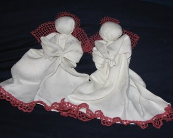 Big Sister & Little Sister hanky babies set * pew dolls * church dolls * praying angels from vintage fabric * made in the heart of Ohio