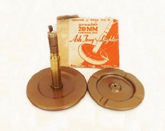 Antique Trench Cigarette Lighter, War Bullet Cartridge Casing, Smoking Accessories, Home Decor, Bar Decor, World War Memorabilia, Tobacciana
