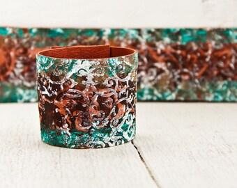 BOHO Jewelry Cuff Bracelet - Hand Painted Leather Wrist Band Cuffs