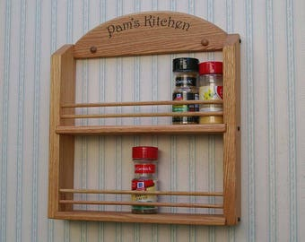 Personalized Double Shelf Oak Wooden Spice Rack  Classic Style