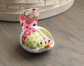 Pretty Pink and Green Bird Pincushion Floral Pin Keep Small Pin Cushion Floral Handmade Pincushion