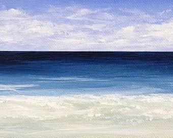 Seascape MINI Beach Painting Modern Ocean Painting Contemporary Beach Art Abstract Blue Cape Cod Modern Original Seascape