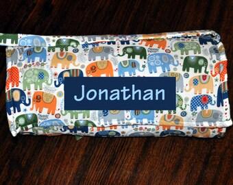 Nap Mat - Monogrammed Happy Boy Elephant Nap Mat with Navy Minky Dot Blanket