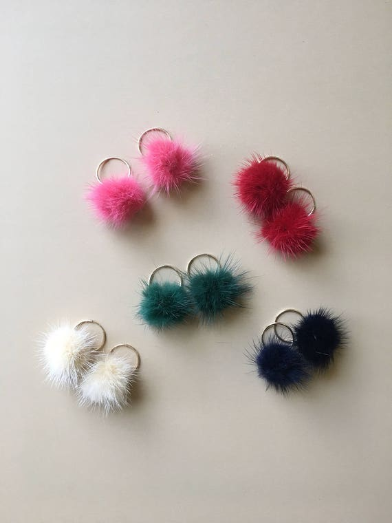 Baby cloud fur pompom puff hoops ~ gold filled with diff colors