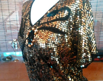 Vintage metallic gold on black floral Sequin blouse M