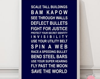 Superheroes- typography bus scroll poster