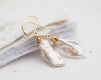 Keshi White Pearls Dangle Earrings Keishi Petal 14K gold filled wire wrapped bridesmaid jewelry weddings june birthstone