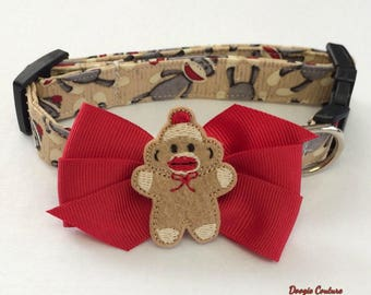 Sock Monkey Dog Collar Size XS through Large by Doogie Couture Pet Boutique