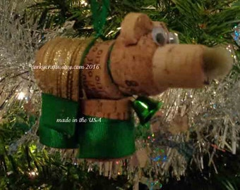wine cork bear ornament team colors green gold sports ornament, secret santa gift