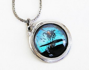Butterfly Wing Blue Morpho Hand Painted Pendent Necklace