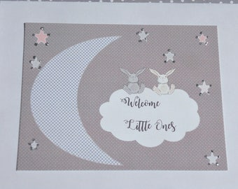 Welcome Twins Card - Twins Baby Shower Card - Twins Baby Card - Cards for Twins - Twin baby Girls - Twin baby Boys  - tc2