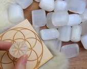 OPTICAL SELENITE MOON Stone Polished Tumbled Pocket Gem Stone Crystal & Energy Enhancing Metaphysical