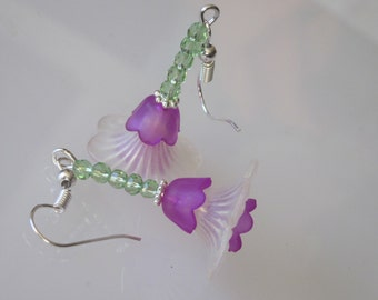 Lucite Flower Dangle Earrings Crystal Flower Victorian Purple White Spring Green Crystals Silver