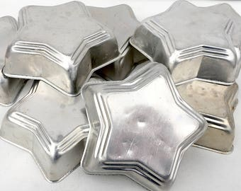 Set of 8 Vintage Aluminum Jello Molds Star Shaped Tins