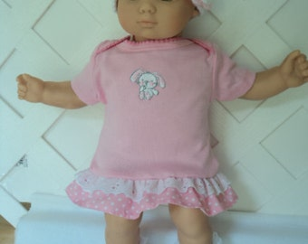 Bitty Baby Girl cute 3  pc. pink dress with  Crochet Hat and Lace Socks   doll clothes