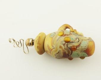 Lampwork Glass Vessel, Aromatherapy Amphora Jar, Cork Lid, Matte Brown, Sterling Silver, Perfume Jar