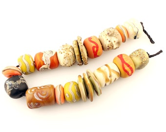 Lampwork Glass Beads Set, SRA Matte Etched Rustic Organic Orange  Brown Green   'Tribal Relics'
