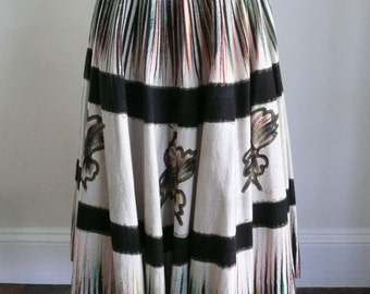 LOVELY Colorfull 1950's Hand Painted Flowered Circle Skirt Mexico
