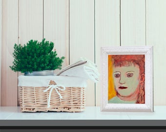 Fine Art Print, Giclee Art, from painting, modern wall art, green red girl, by Ana Gonzalez