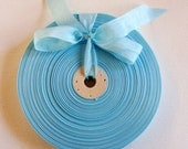 Vintage 1930's-40's French Woven Ribbon -Milliners Stock- 5/8 inch Swimming Pool Blue