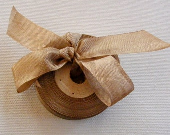 Vintage 1930's-40's French Woven Ribbon -Milliners Stock- 5/8 inch Soft Mink Brown