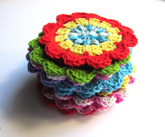 Crocheted large flowers set of 12 appliqué , 4 inch diameter each, multi colors