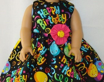 """18"""" doll clothes/Happy Birthday/Dress with flower/READYTOSHIP/Made to fit 18"""" Dolls Like American Girl"""